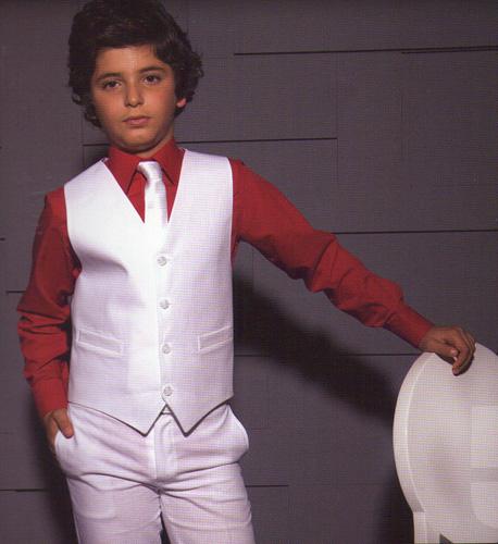 Ensemble gilet et pantalon polyester en blanc ou ivoire
