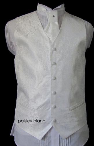 Ensemble gilet, cravalière et pochette Paisley blanc