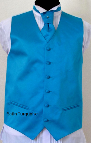 Ensemble gilet, cravalière et pochette satin turquoise