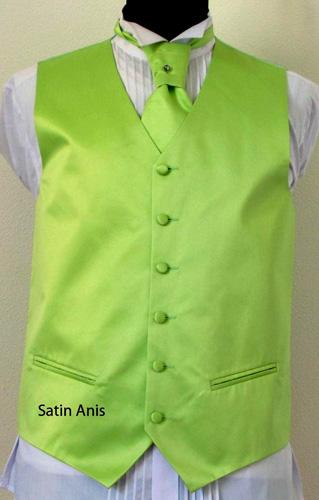 Ensemble gilet cravalière et pochette vert anis