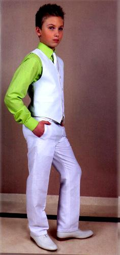 Ensemble gilet pantalon blanc facon lin