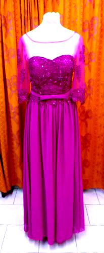 robe longue avec manches 8029 framboise