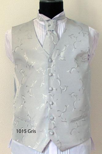 Ensemble gilet, cravalière et pochette gris 1025 gris