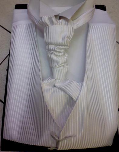 Ensemble gilet cravalliere et pochette 10539 blanc