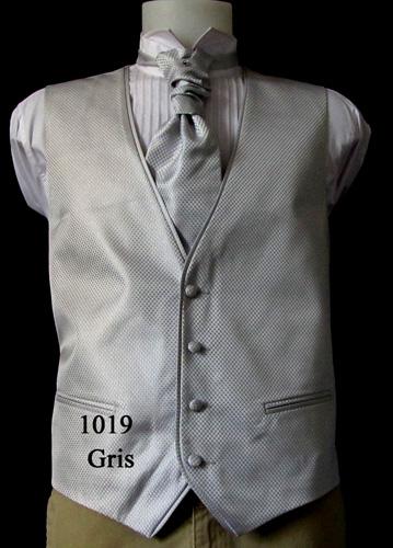 Ensemble gilet cravalière et pochette 1019 gris
