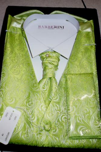 Ensemble Gilet, cravalière et pochette Mozart vert anis