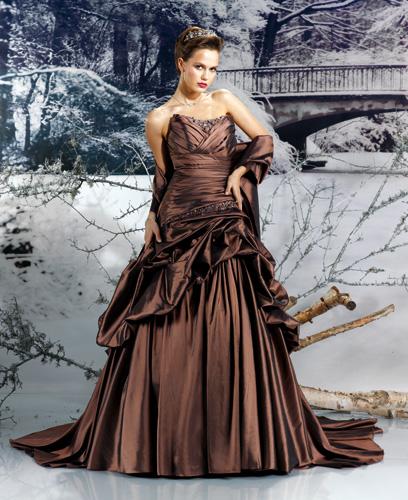 Robe de soirée ou mariée chocolat Mp133-08