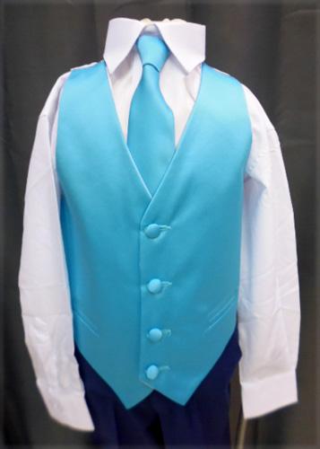 Gilet et cravate turquoise