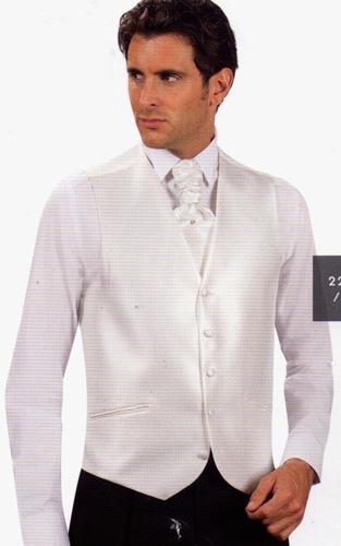 Ensemble gilet, cravaliere et pochette 2226/01 blanc