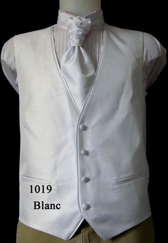 Ensemble gilet, cravalière et pochette 1019 blanc