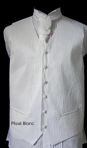 Ensemble gilet, cravalière et pochette Gex blanc