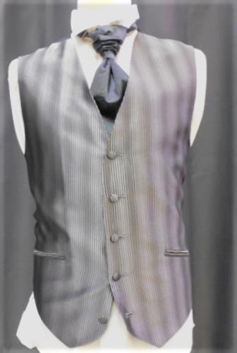 Ensemble gilet,cravalière et pochette gris foncé