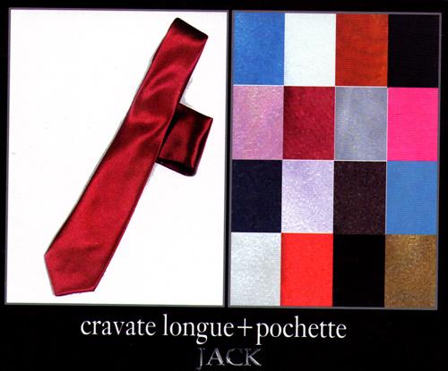 Cravate longue avec pochette Jack