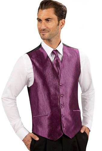 Gilet , cravalière et pochette 2303-16-violet