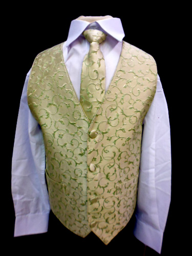 Gilet et cravate vert anis enfant